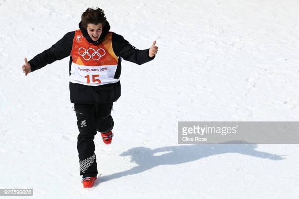 Nico Porteous of New Zealand reacts to winning bronze during the Freestyle Skiing Men's Ski Halfpipe Final on day thirteen of the PyeongChang 2018...