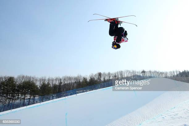 Nico Porteous of New Zealand skis during a training session for the FIS Freestyle World Cup 2016/17 Ski Halfpipe at Bokwang Snow Park on February 15...