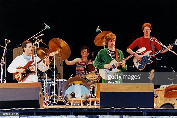 Nico Ramsden, Mike Oldfield, Pierre Moerlen and Hansford Rowe perform on stage at the Knebworth Festival, on June 21st, 1980 in Hertfordshire,...