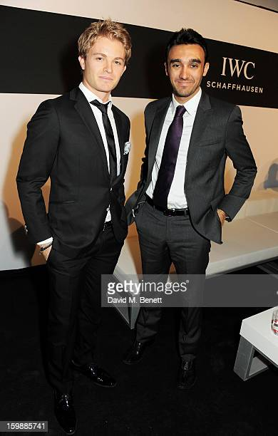 Nico Rosberg and Abdulaziz Ruki Al Faisal attend the IWC Schaffhausen Race Night event during the Salon International de la Haute Horlogerie 2013 at...