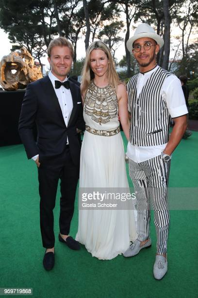 Nico Rosberg and his wife Vivian Rosberg and Lewis Hamilton during the cocktail at the amfAR Gala Cannes 2018 at Hotel du CapEdenRoc on May 17 2018...