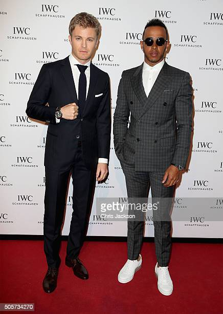 Nico Rosberg and Lewis Hamilton attend the IWC 'Come Fly with us' Gala Dinner during the launch of the Pilot's Watches Novelties from the Swiss...