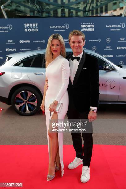 Nico Rosberg and wife Vivian Sibold arrive on the red carpet during the 2019 Laureus World Sports Awards on February 18 2019 in Monaco Monaco