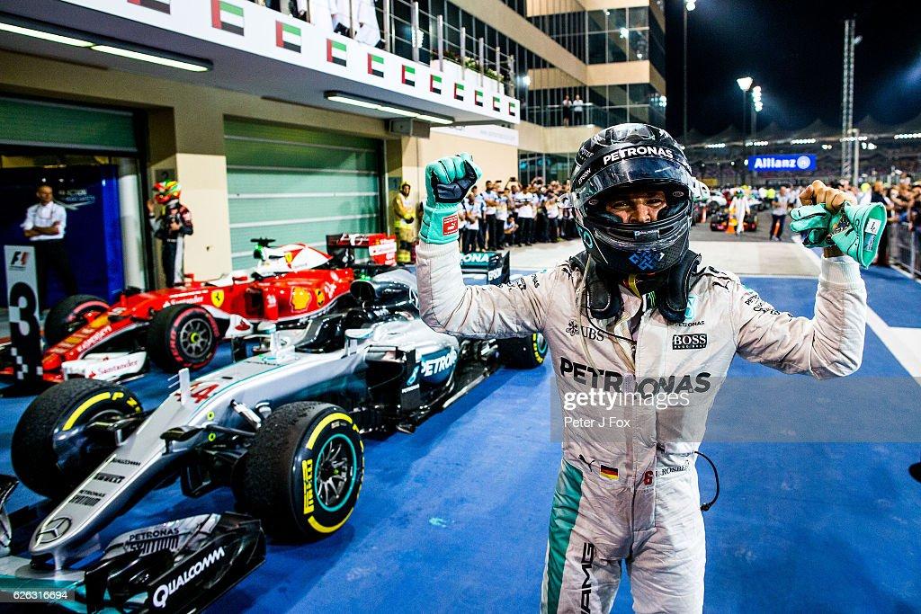 Nico Rosberg celebrates becoming the 2016 F1 Drivers World Champion during the Abu Dhabi Formula One Grand Prix at Yas Marina Circuit on November 27, 2016 in Abu Dhabi, United Arab Emirates.