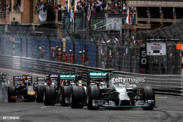 Nico Rosberg Lewis Hamilton Mercedes F1 W05Hybrid Grand Prix of Monaco Circuit de Monaco 25 May 2014 Pole position sitter Nico Rosberg in the lead at...