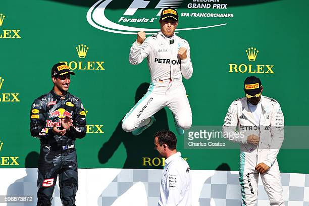 Nico Rosberg of Gecrmany and Mercedes GP celebrates his win on the podium during the Formula One Grand Prix of Belgium at Circuit de SpaFrancorchamps...