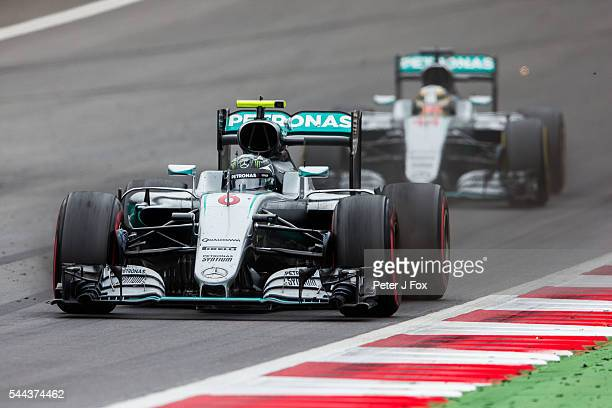 Nico Rosberg of Germany and Lewis Hamilton of Great Britain both of Mercedes during the Formula One Grand Prix of Austria at Red Bull Ring on July 3,...