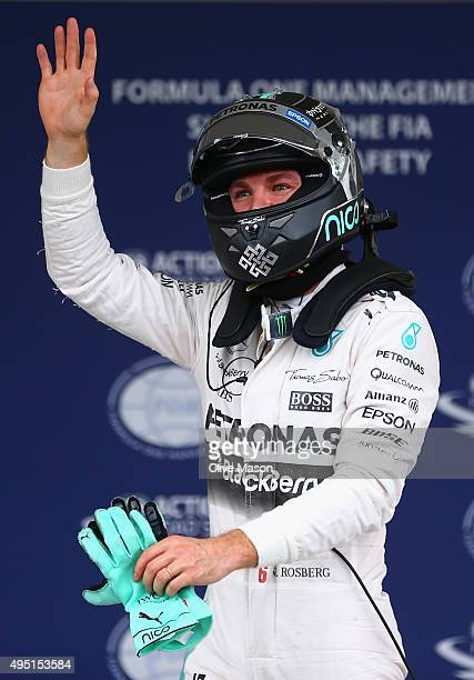 Nico Rosberg of Germany and Mercedes AMG F1 celebrates pole position after qualifying for the Formula One Grand Prix of Mexico at Autodromo Hermanos...