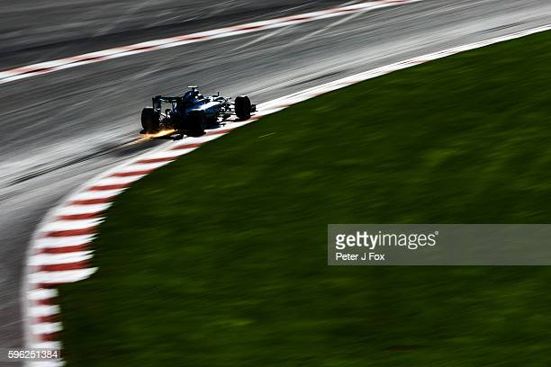Nico Rosberg of Germany and Mercedes during qualifying for the Formula One Grand Prix of Belgium at Circuit de SpaFrancorchamps on August 27 2016 in...
