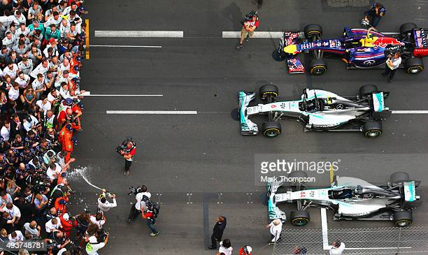 Nico Rosberg of Germany and Mercedes GP celebrates following his victory during the Monaco Formula One Grand Prix at Circuit de Monaco on May 25,...