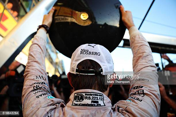 Nico Rosberg of Germany and Mercedes GP celebrates his win during the Australian Formula One Grand Prix at Albert Park on March 20 2016 in Melbourne...