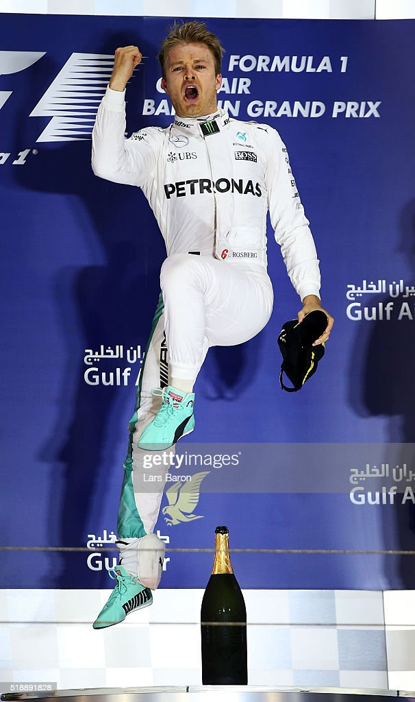Nico Rosberg of Germany and Mercedes GP celebrates his win on the podium during the Bahrain Formula One Grand Prix at Bahrain International Circuit on April 3, 2016 in Sakhir, Bahrain.