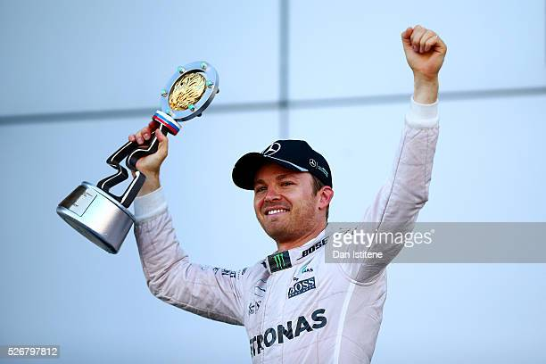 Nico Rosberg of Germany and Mercedes GP celebrates his win on the podium during the Formula One Grand Prix of Russia at Sochi Autodrom on May 1, 2016...