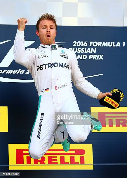 Nico Rosberg of Germany and Mercedes GP celebrates his win on the podium during the Formula One Grand Prix of Russia at Sochi Autodrom on May 1 2016...