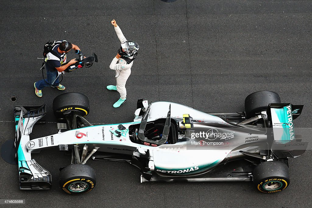 Nico Rosberg of Germany and Mercedes GP celebrates in parc ferme after winning the Monaco Formula One Grand Prix at Circuit de Monaco on May 24, 2015 in Monte-Carlo, Monaco.