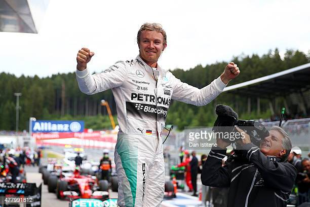 Nico Rosberg of Germany and Mercedes GP celebrates in Parc Ferme after winning the Formula One Grand Prix of Austria at Red Bull Ring on June 21 2015...