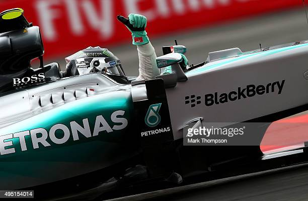 Nico Rosberg of Germany and Mercedes GP celebrates pole position after qualifying for the Formula One Grand Prix of Mexico at Autodromo Hermanos...