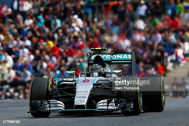 Nico Rosberg of Germany and Mercedes GP ddrives during the Formula One Grand Prix of Austria at Red Bull Ring on June 21 2015 in Spielberg Austria