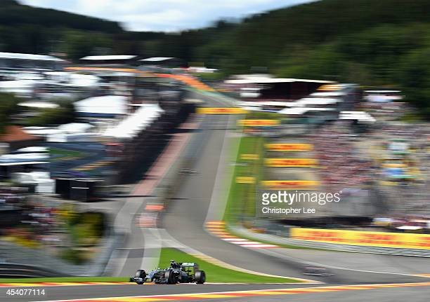 Nico Rosberg of Germany and Mercedes GP drives around Eau Rouge during the Belgium Grand Prix at Circuit de SpaFrancorchamps on August 24 2014 in Spa...
