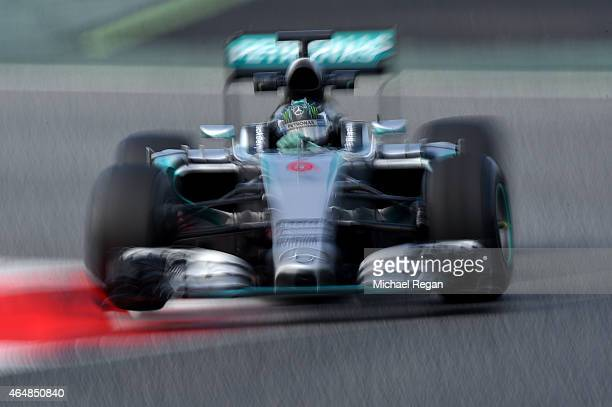 Nico Rosberg of Germany and Mercedes GP drives during day four of the final Formula One Winter Testing at Circuit de Catalunya on March 1 2015 in...