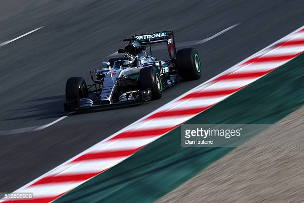 Nico Rosberg of Germany and Mercedes GP drives during day three of F1 winter testing at Circuit de Catalunya on March 3 2016 in Montmelo Spain
