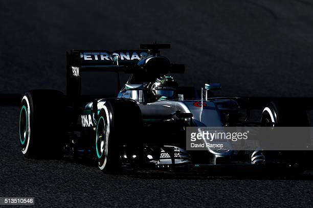 Nico Rosberg of Germany and Mercedes GP drives during day three of F1 winter testing at Circuit de Catalunya on March 3, 2016 in Montmelo, Spain.
