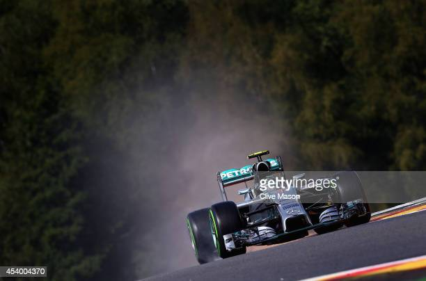 Nico Rosberg of Germany and Mercedes GP drives during final practice ahead of the Belgian Grand Prix at Circuit de SpaFrancorchamps on August 23 2014...