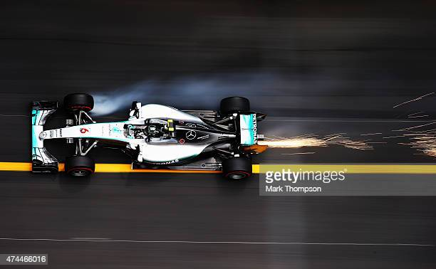 Nico Rosberg of Germany and Mercedes GP drives during final practice for the Monaco Formula One Grand Prix at Circuit de Monaco on May 23, 2015 in...