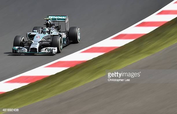 Nico Rosberg of Germany and Mercedes GP drives during practice ahead of the British Formula One Grand Prix at Silverstone Circuit on July 4 2014 in...