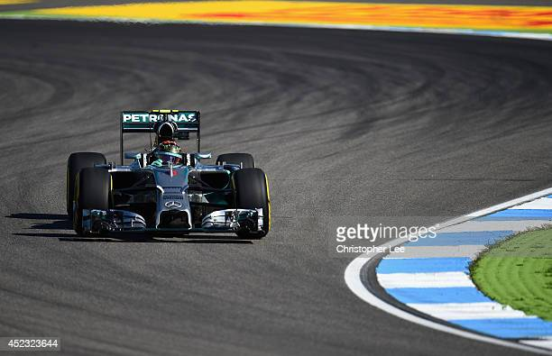 Nico Rosberg of Germany and Mercedes GP drives during practice ahead of the German Grand Prix at Hockenheimring on July 18 2014 in Hockenheim Germany