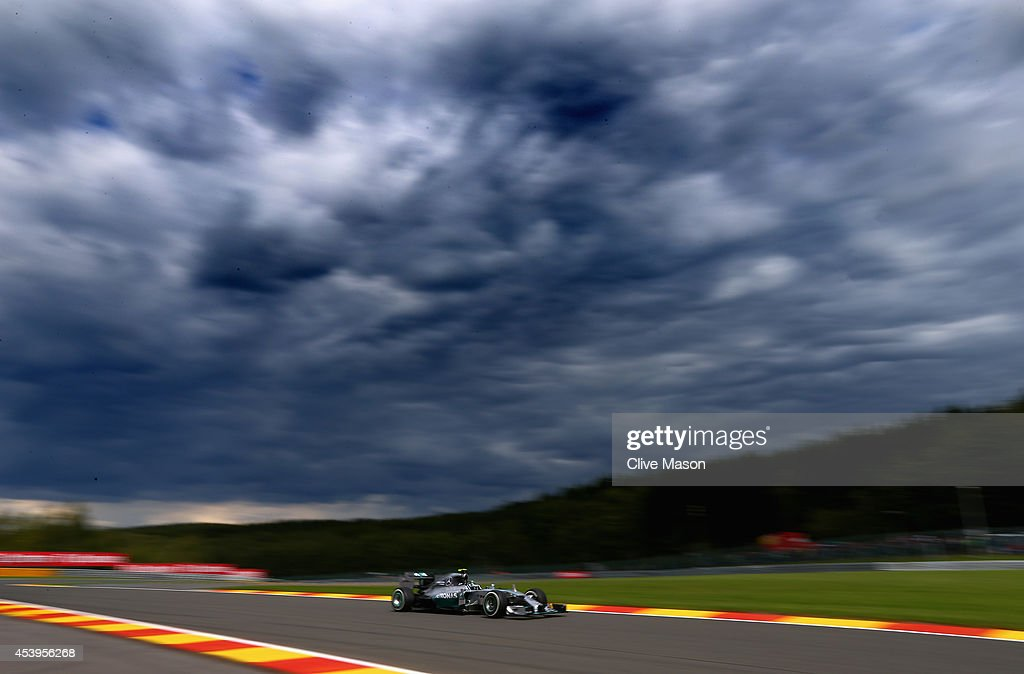 Nico Rosberg of Germany and Mercedes GP drives during practice ahead of the Belgian Grand Prix at Circuit de Spa-Francorchamps on August 22, 2014 in Spa, Belgium.
