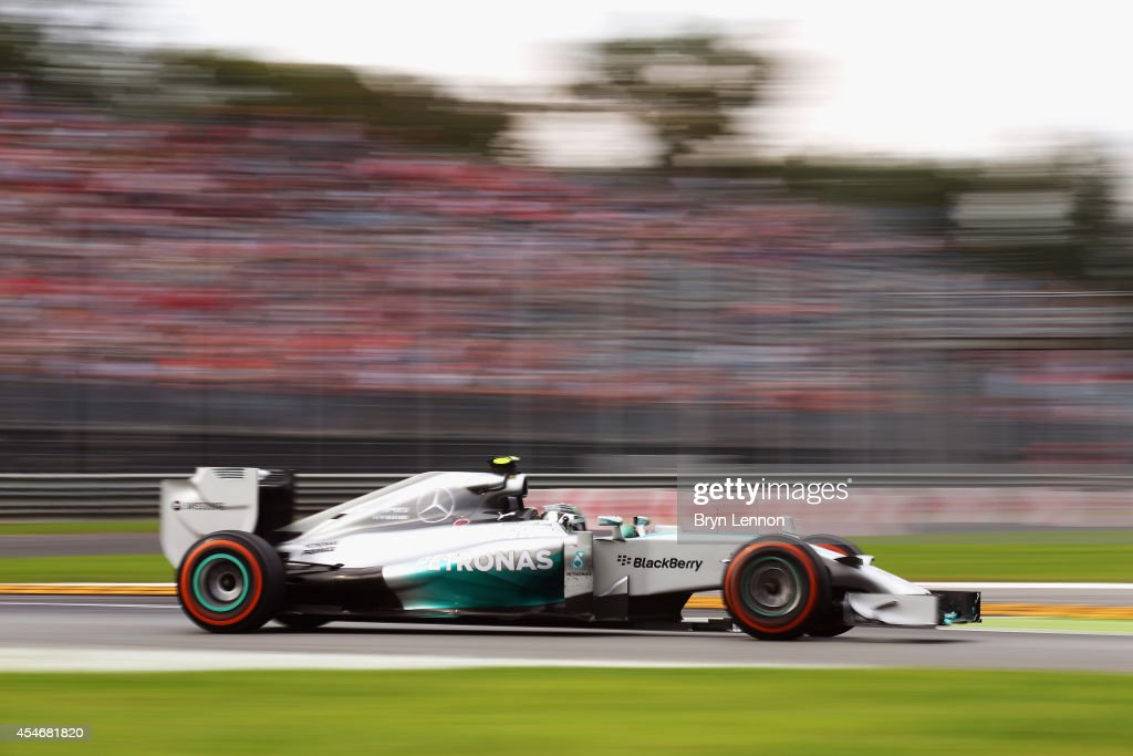 Nico Rosberg of Germany and Mercedes GP drives during Practice ahead of the F1 Grand Prix of Italy at Autodromo di Monza on September 5, 2014 in Monza, Italy.