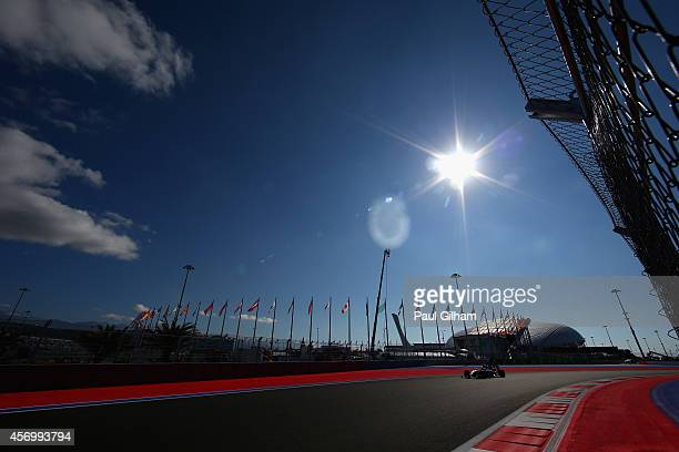 Nico Rosberg of Germany and Mercedes GP drives during practice ahead of the Russian Formula One Grand Prix at Sochi Autodrom on October 10, 2014 in...
