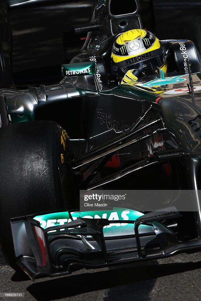 Nico Rosberg of Germany and Mercedes GP drives during practice for the Monaco Formula One Grand Prix at the Circuit de Monaco on May 23, 2013 in Monte-Carlo, Monaco.