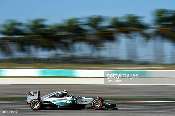 Nico Rosberg of Germany and Mercedes GP drives during practice for the Malaysia Formula One Grand Prix at Sepang Circuit on March 27 2015 in Kuala...