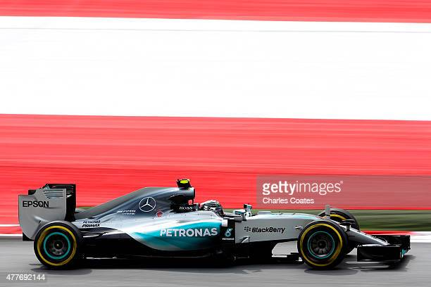 Nico Rosberg of Germany and Mercedes GP drives during practice for the Formula One Grand Prix of Austria at Red Bull Ring on June 19 2015 in...