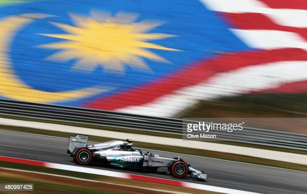 Nico Rosberg of Germany and Mercedes GP drives during practice for the Malaysia Formula One Grand Prix at the Sepang Circuit on March 28 2014 in...