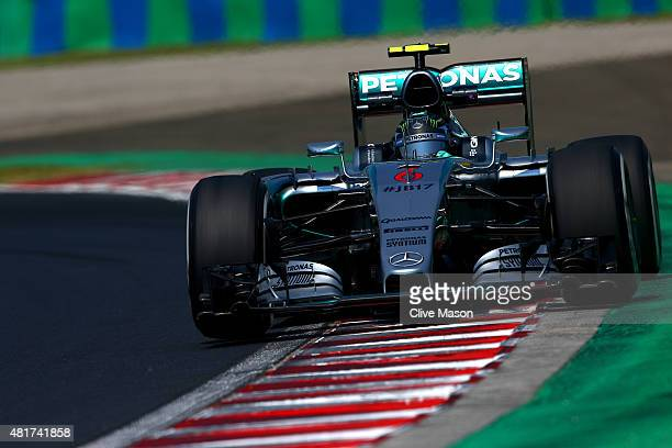 Nico Rosberg of Germany and Mercedes GP drives during practice for the Formula One Grand Prix of Hungary at Hungaroring on July 24 2015 in Budapest...