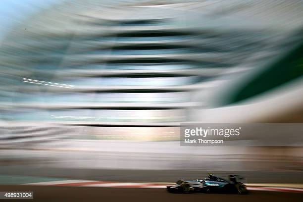 Nico Rosberg of Germany and Mercedes GP drives during practice for the Abu Dhabi Formula One Grand Prix at Yas Marina Circuit on November 27, 2015 in...