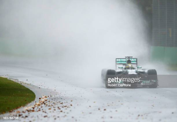 Nico Rosberg of Germany and Mercedes GP drives during qualifying for the Australian Formula One Grand Prix at the Albert Park Circuit on March 16...