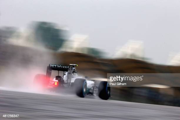 Nico Rosberg of Germany and Mercedes GP drives during qualifying for the Malaysia Formula One Grand Prix at the Sepang Circuit on March 29 2014 in...
