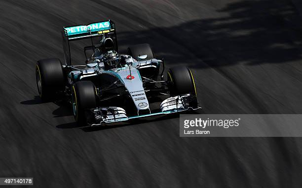 Nico Rosberg of Germany and Mercedes GP drives during qualifying for the Formula One Grand Prix of Brazil at Autodromo Jose Carlos Pace on November...