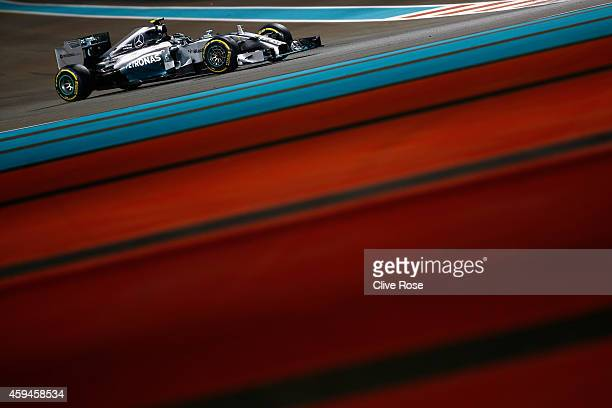 Nico Rosberg of Germany and Mercedes GP drives during the Abu Dhabi Formula One Grand Prix at Yas Marina Circuit on November 23 2014 in Abu Dhabi...