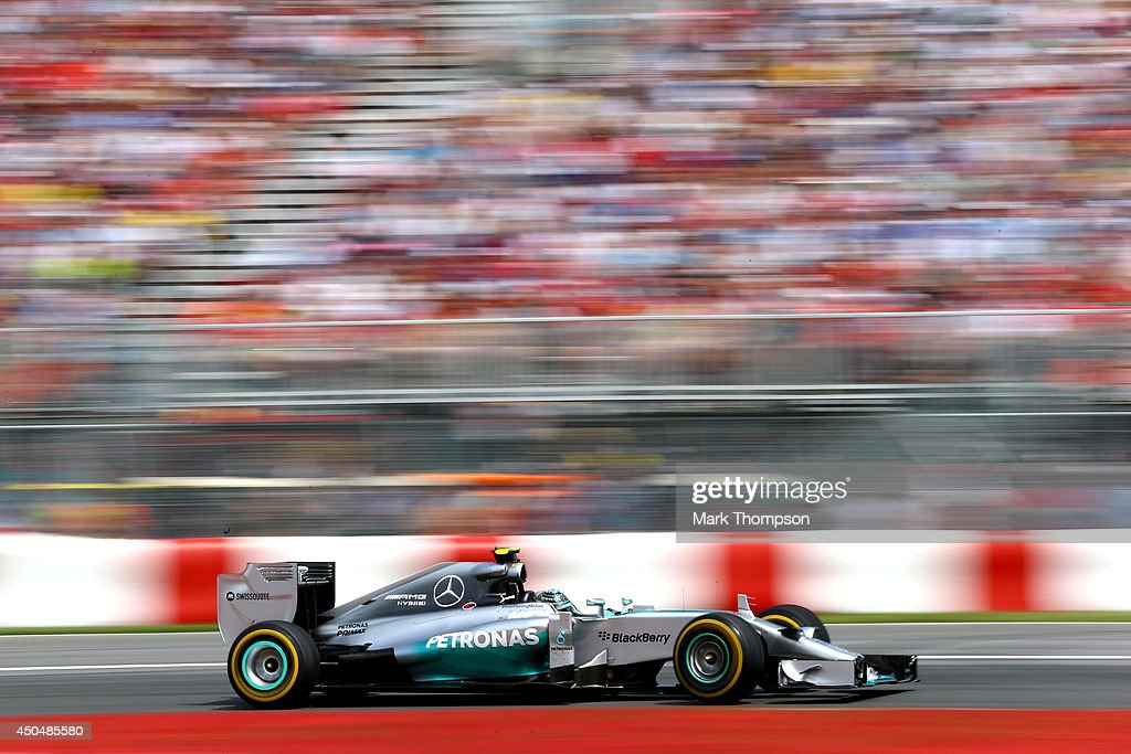 Nico Rosberg of Germany and Mercedes GP drives during the Canadian Formula One Grand Prix at Circuit Gilles Villeneuve on June 8, 2014 in Montreal, Canada.
