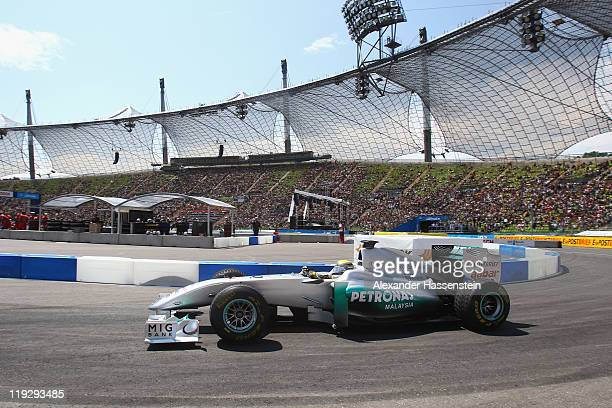Nico Rosberg of Germany and Mercedes GP drives during the final round at Olympiastadion on July 17, 2011 in Munich, Germany.