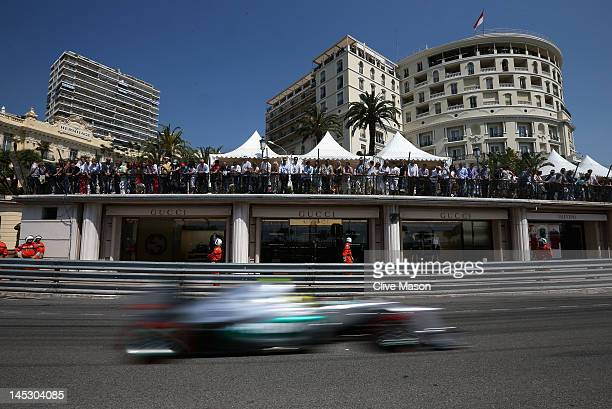 Nico Rosberg of Germany and Mercedes GP drives during the final practice session prior to qualifying for the Monaco Formula One Grand Prix at the...