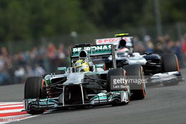 Nico Rosberg of Germany and Mercedes GP drives during the final practice session prior to qualifying for the British Formula One Grand Prix at...