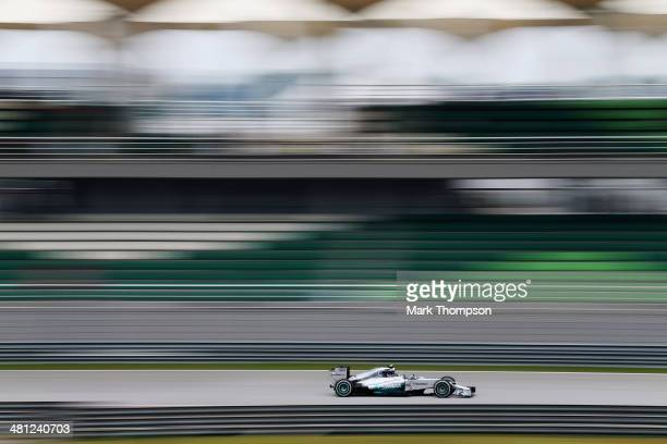 Nico Rosberg of Germany and Mercedes GP drives during the final practice session prior to qualifying for the Malaysia Formula One Grand Prix at the...