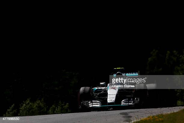 Nico Rosberg of Germany and Mercedes GP drives during the Formula One Grand Prix of Austria at Red Bull Ring on June 21 2015 in Spielberg Austria