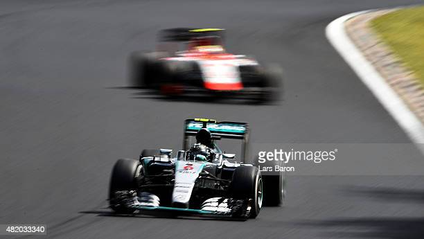 Nico Rosberg of Germany and Mercedes GP drives during the Formula One Grand Prix of Hungary at Hungaroring on July 26 2015 in Budapest Hungary